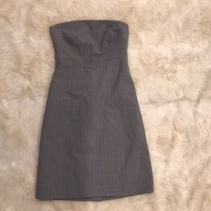 Gap Strapless Gray Pinstripe Dress